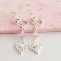 Heart Clip On Earrings Pink Childrens Clip On Dangling Clip