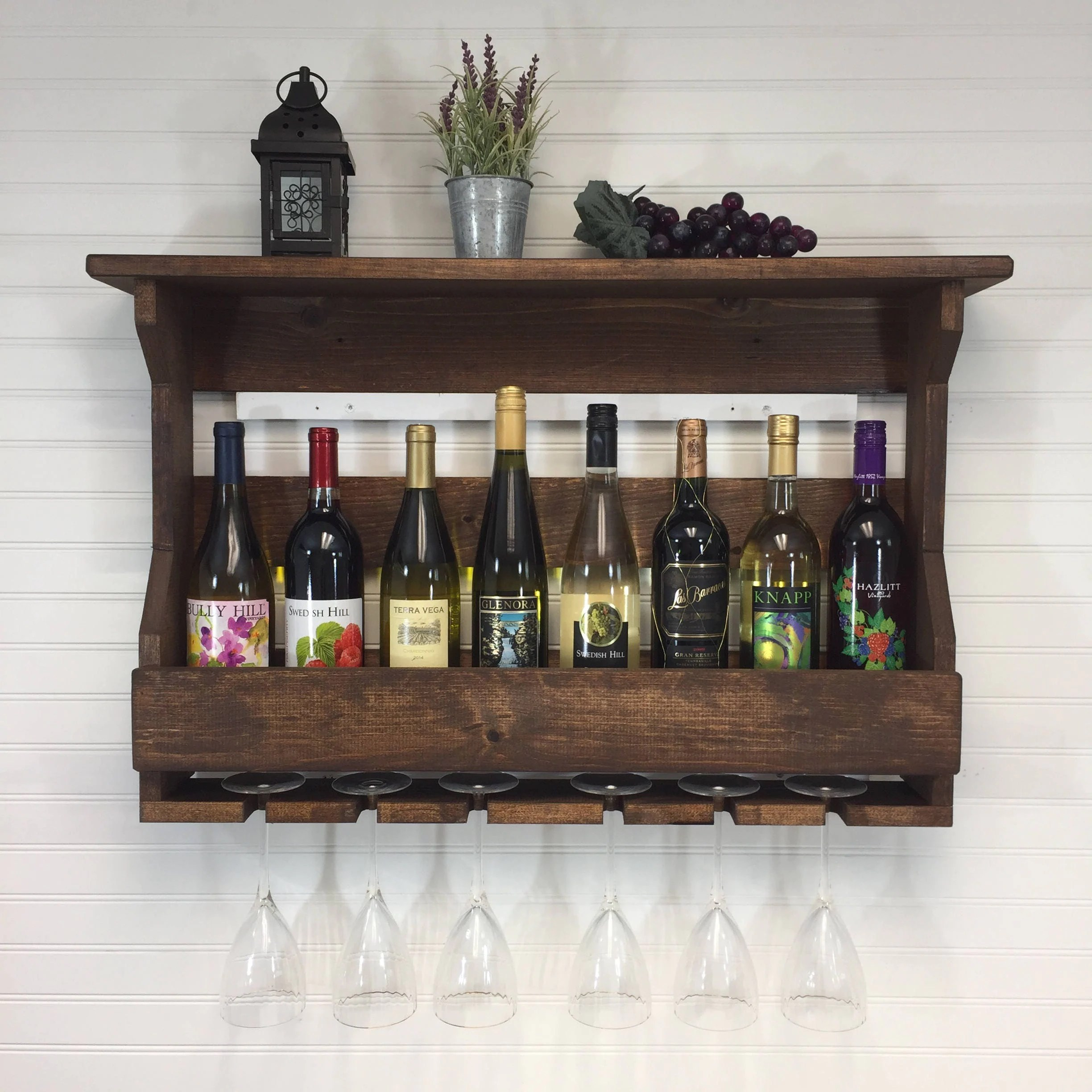 Small Wall Mounted Wine Rack Wooden Wine Rack Wall Mounted Wine Rack Handcrafted