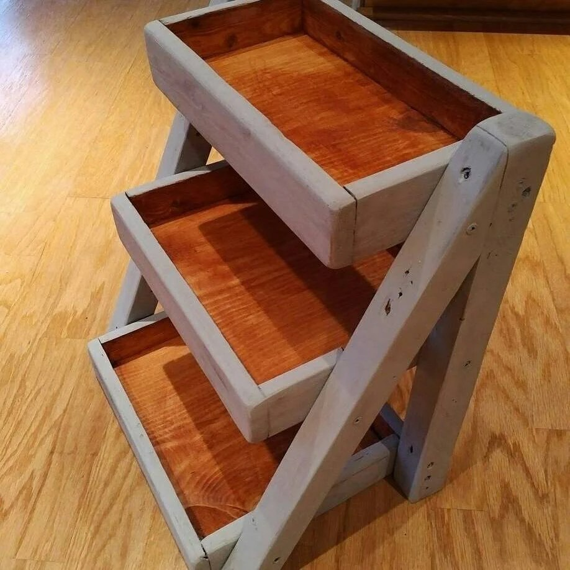 Mini Ladder Shelf With Trays Wood Display Table Top Shelf