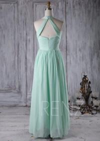 Pale Aqua Bridesmaid Dress Long Halter Wedding Dress Long
