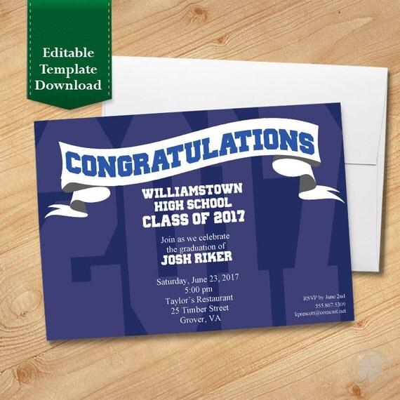 Blue and White Graduation Invitation Template High School - graduation invitation template