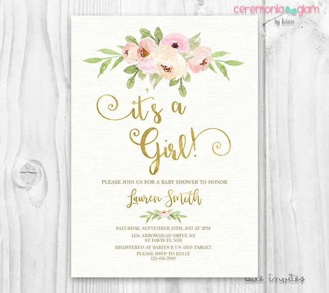 It\u0027s a girl BABY SHOWER INVITATION blush and gold, pink watercolor - baby girl invitation