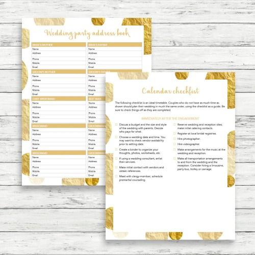 gold wedding planner diy wedding binder wedding planner binder Gold wedding planner DIY wedding binder Gold wedding binder Wedding checklist Printable wedding planner Wedding to do list DIY planner
