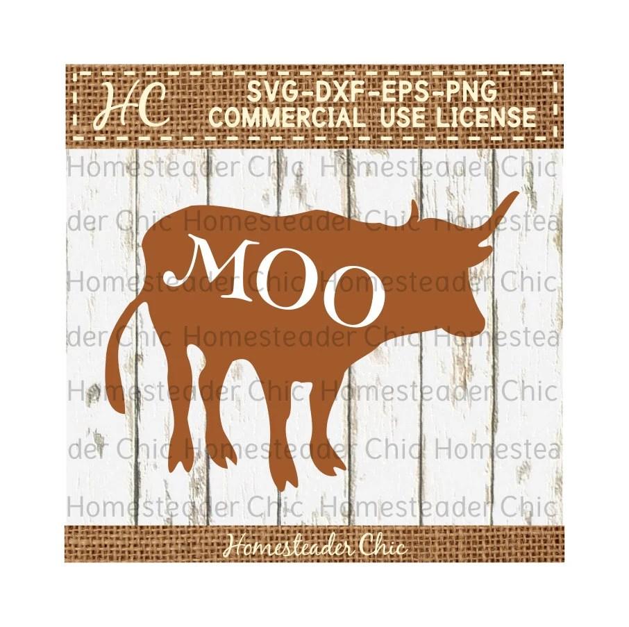 Cow SVG Horned Steer MOO Cut File Commercial Use svg dxf eps png - moo digital