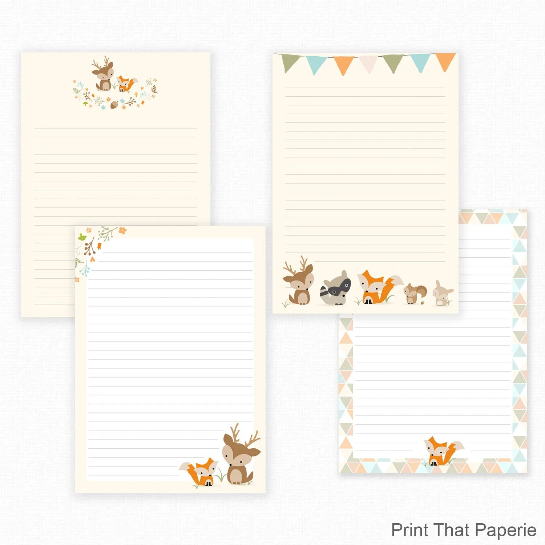 Woodland Printable Writing Paper - Stationary Paper - Letter Writing - print writing paper