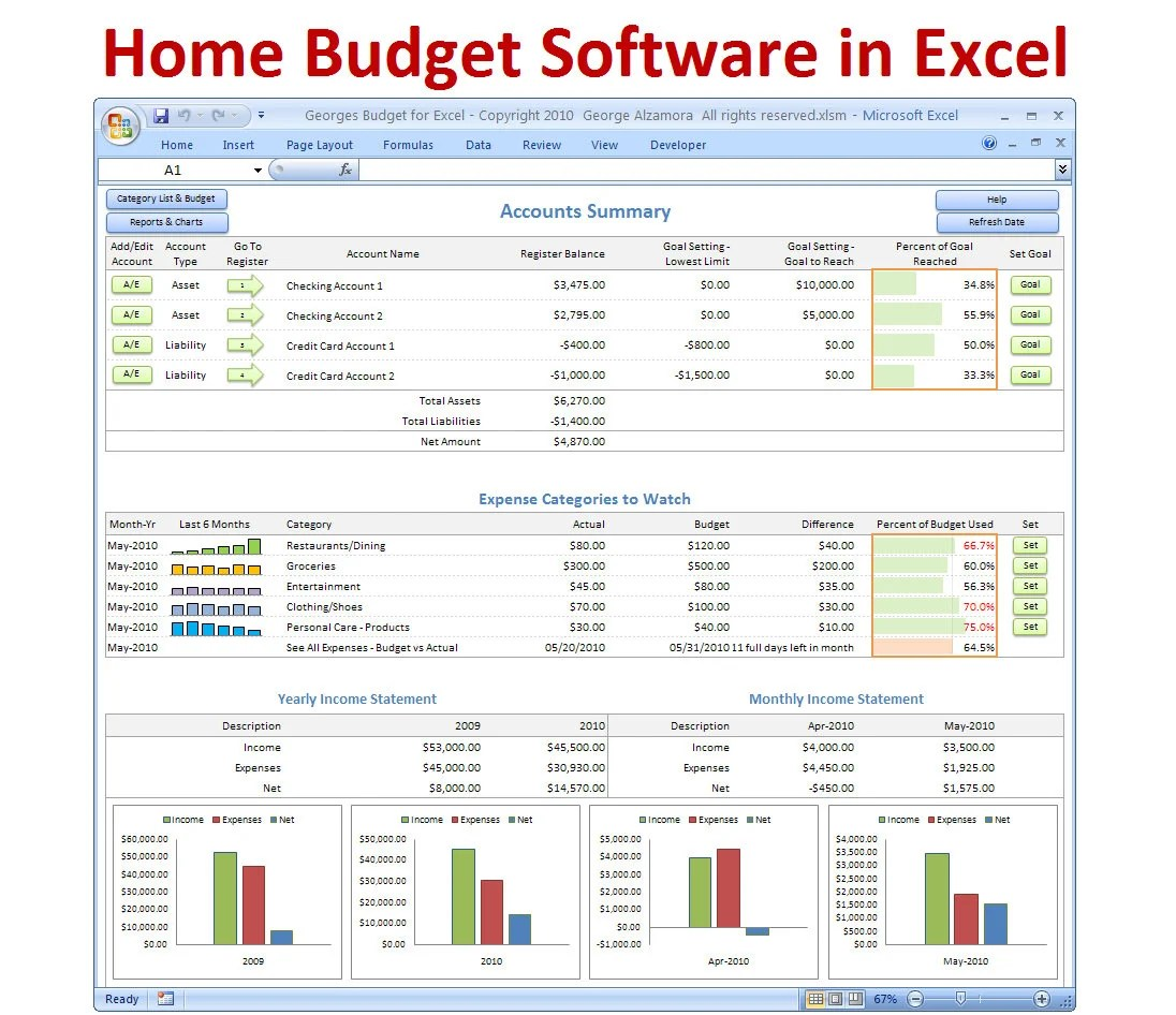 Excel budget spreadsheet template and checkbook register - home budget spreadsheet