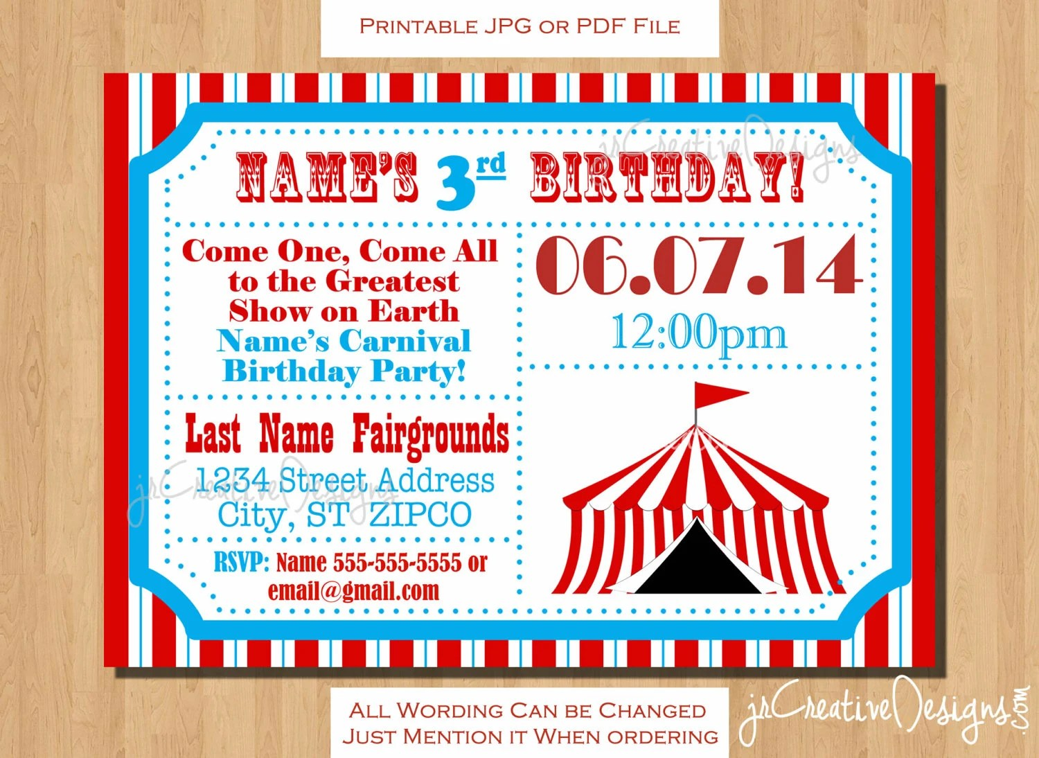 Circus themed party Circus Birthday invitation Ticket invitation