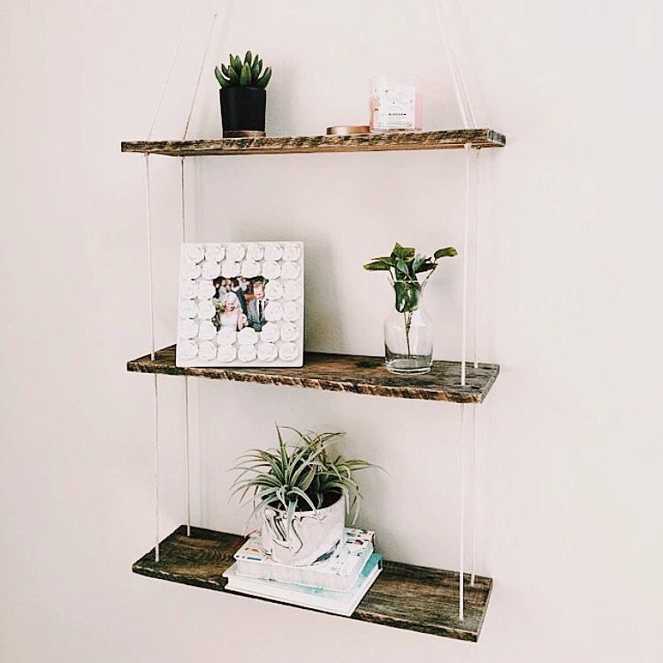 Three Tiered Hanging Shelf Pallet Wood Shelf Swing Shelf