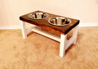 Elevated dog bowl stand STRIPY L handmade wooden dog bowl