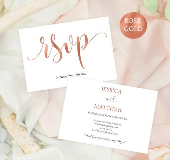 Wedding rsvp postcard - RSVP template - rsvp online - rose gold