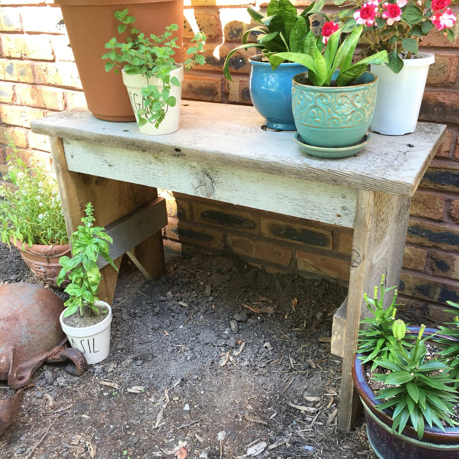 Plant Bench Indoor Rustic Barn Board Garden Bench Reclaimed Wood Indoor Outdoor