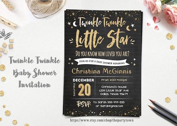 Twinkle Twinkle Little Star Baby Shower invitation, Chalkboard Pink