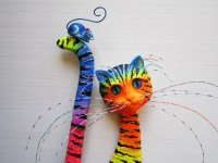 Colorful cat-whimsical cat-cat wall decor-wood cat
