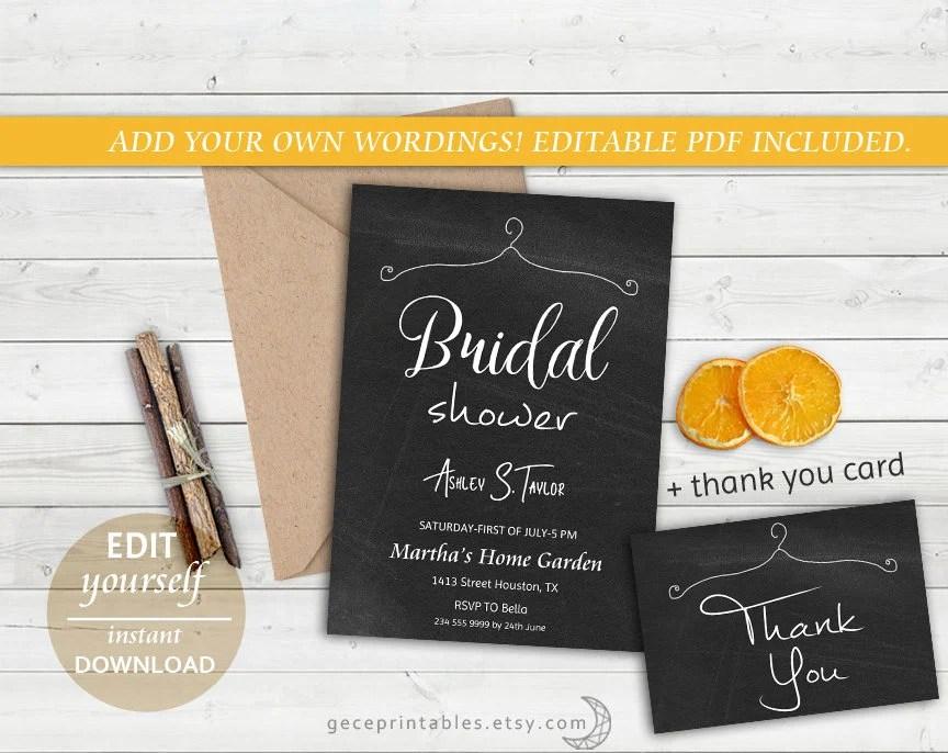 Chalkboard Bridal Shower Invitation Template \u2014 DIY Bridal Shower