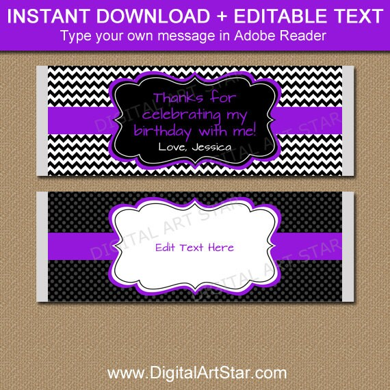 Birthday Candy Bar Wrapper Template, Chocolate Wrappers, Baby Shower - candy bar wrapper template