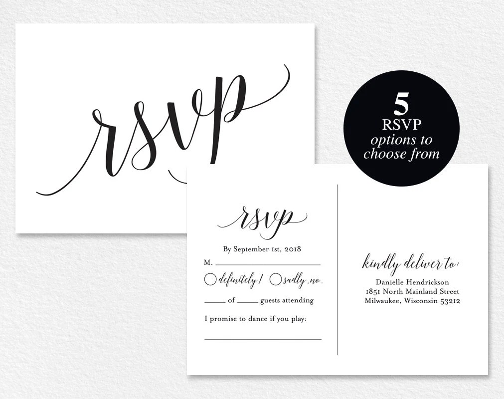 Rsvp Cards Rsvp Postcard Rsvp Template Wedding Rsvp Cards