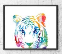 Colorful Tiger Print watercolor art jungle art safari art kids