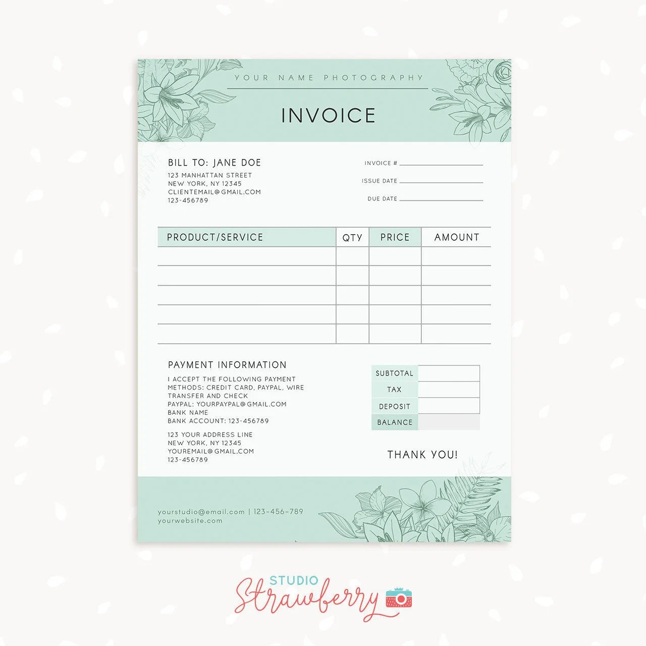 Invoice template Photography invoice Business invoice - photography invoice template