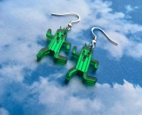 Laser Cut Acrylic Final Fantasy Cactuar Mirror Gamer Earrings