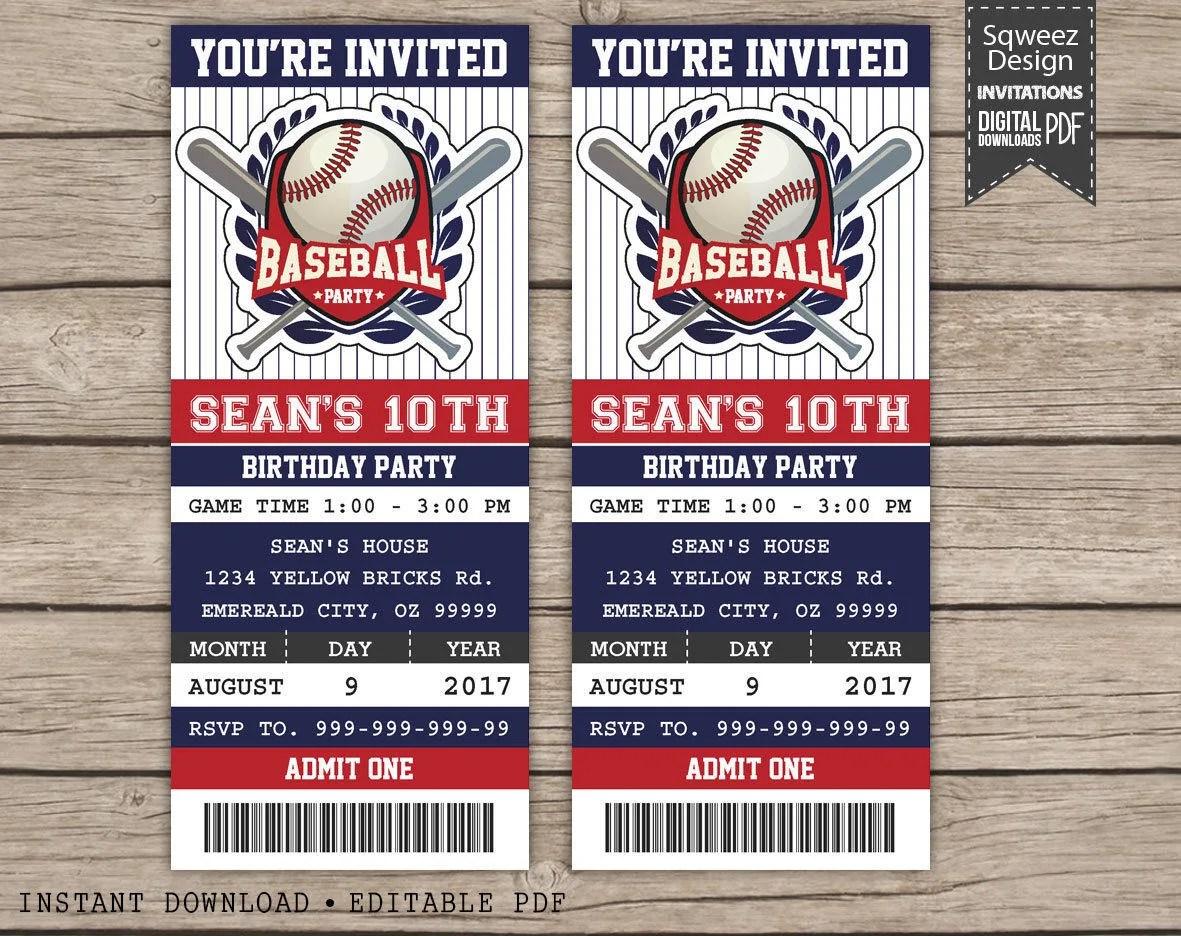 Baseball Birthday Invitation Baseball ticket invitation - ticket invitation
