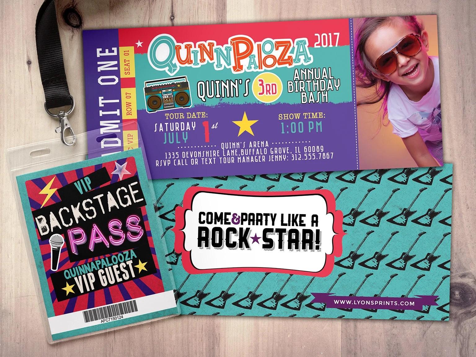 Rock Star-Concert ticket birthday invitation- girl birthday