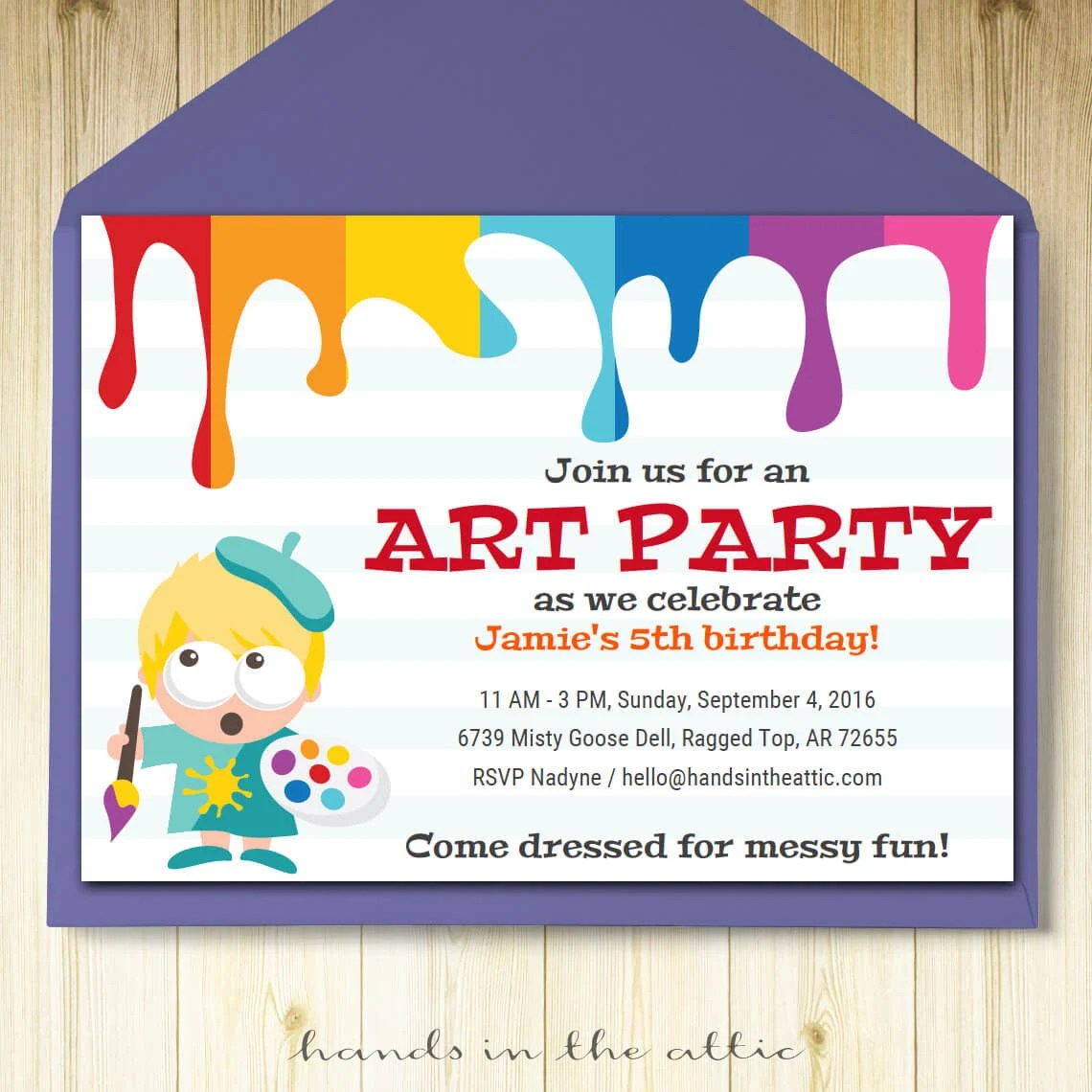 Art party invitation card template, printable kids painting birthday