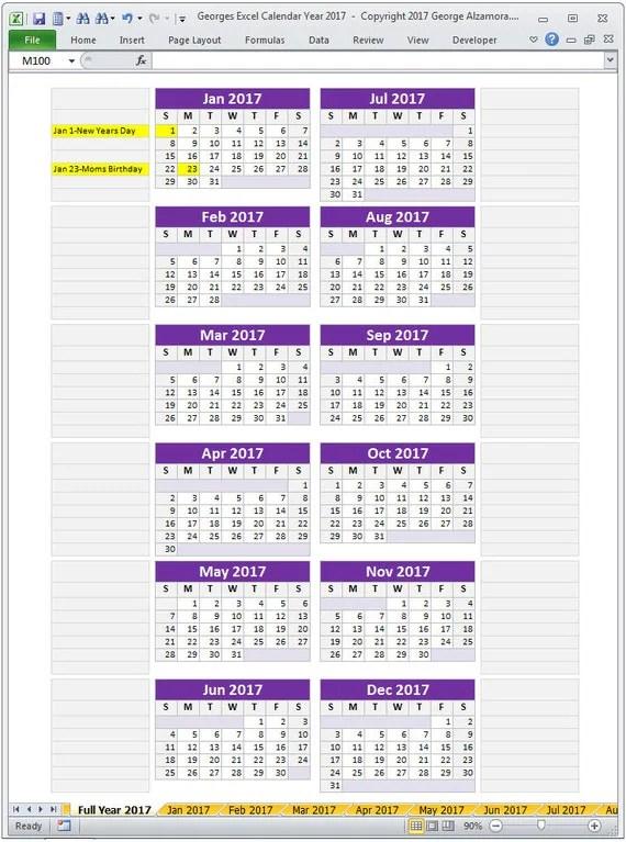 2017 Excel Calendar Template 2017 Monthly Calendar and 2017 - annual calendar template