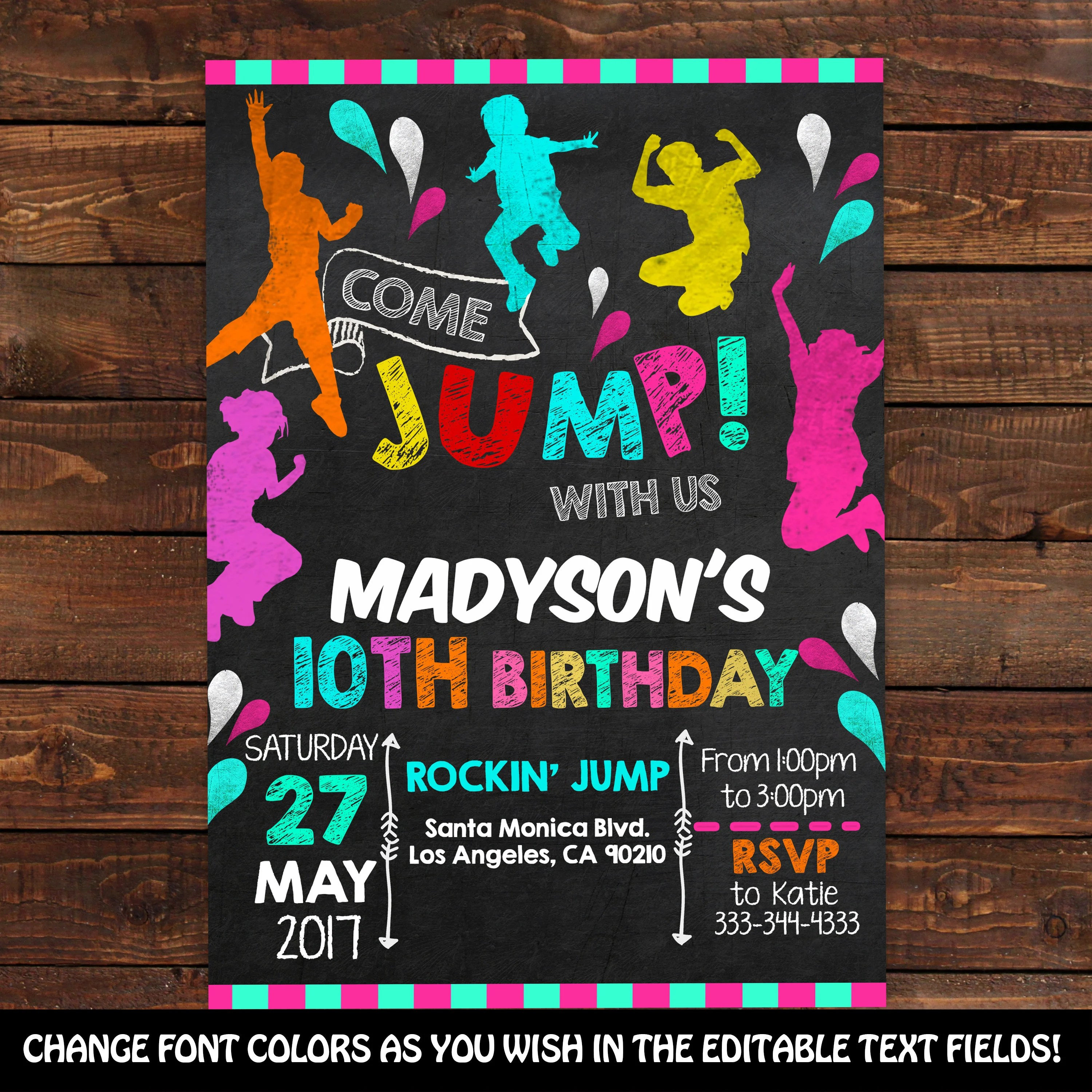 Trampoline Jump Invitation - Jump Birthday Invitation - Trampoline - bounce house flyer template