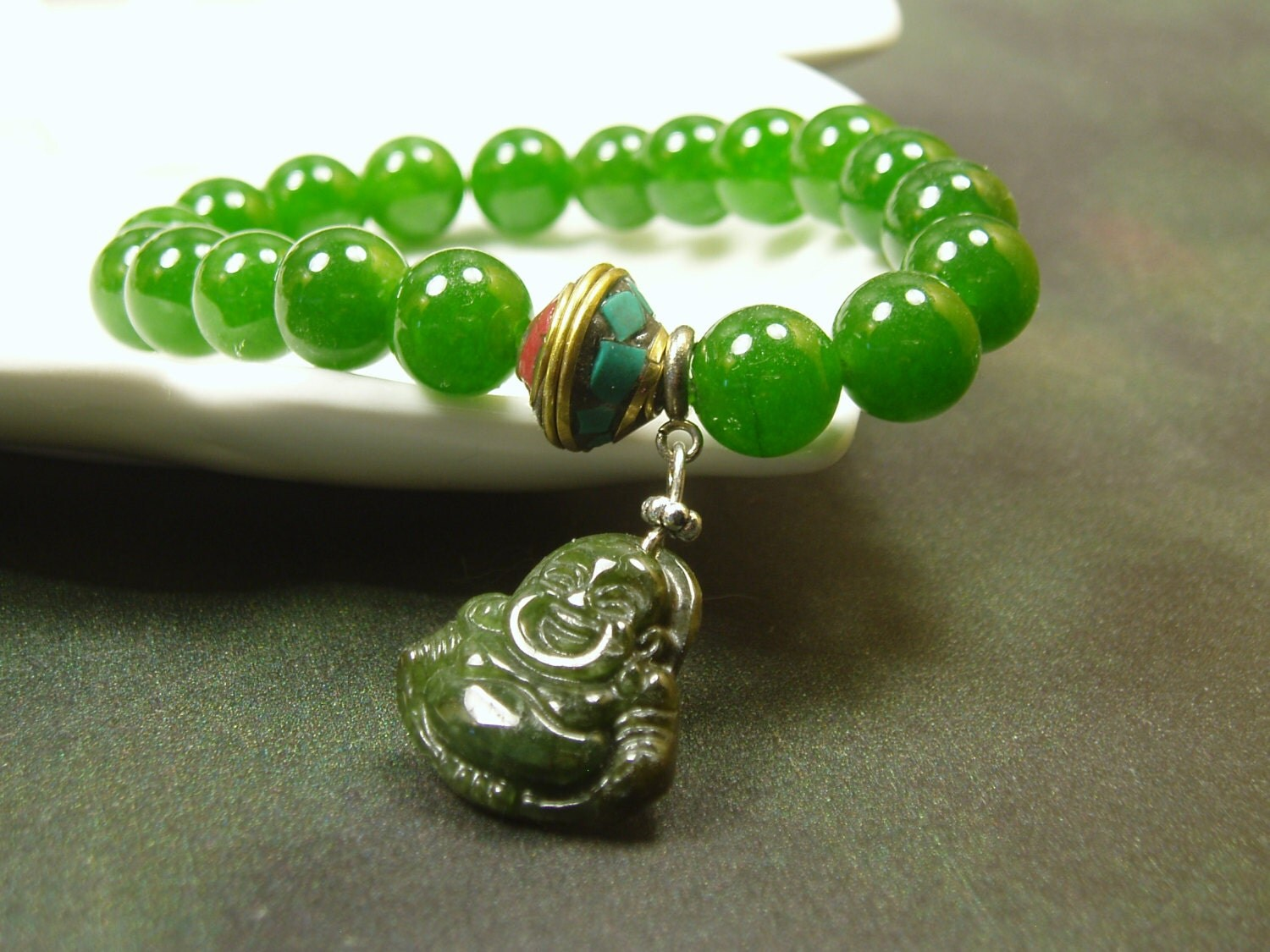 Natural Green Jade Bracelet Green Jade Happy Buddha Charm