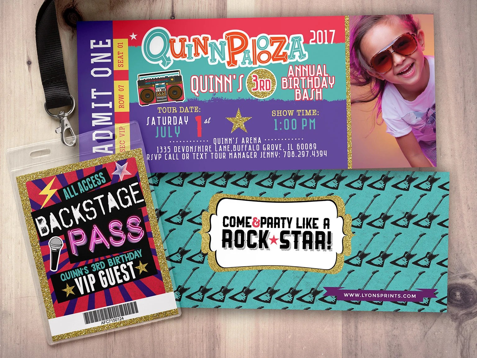 Rock Star-Concert ticket birthday invitation- girl birthday