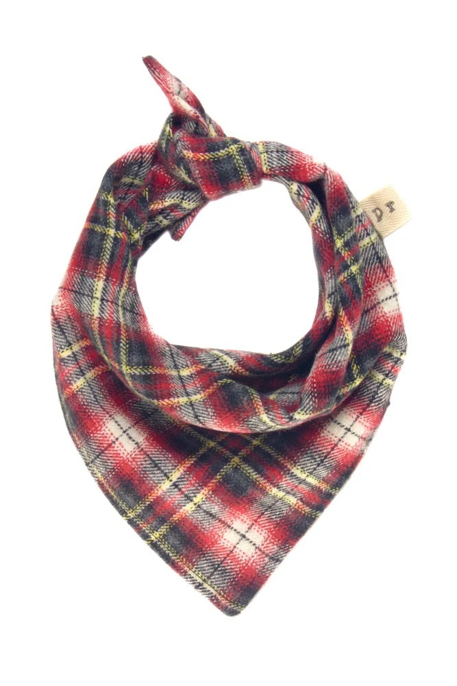 Plaid Dog Scarf, Red Flannel Dog Bandana, Fall Puppy
