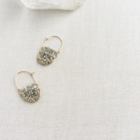 Raw Diamond Hoop Earring Raw Diamond Earrings Gold Diamond