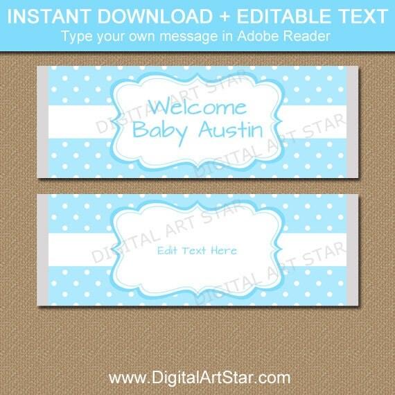 Baby Boy Candy Bar Wrapper Template, Boy Baby Shower Ideas, Aqua