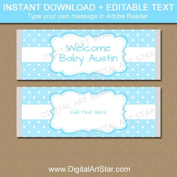 Baby Boy Candy Bar Wrapper Template, Boy Baby Shower Ideas, Aqua - candy bar wrapper template