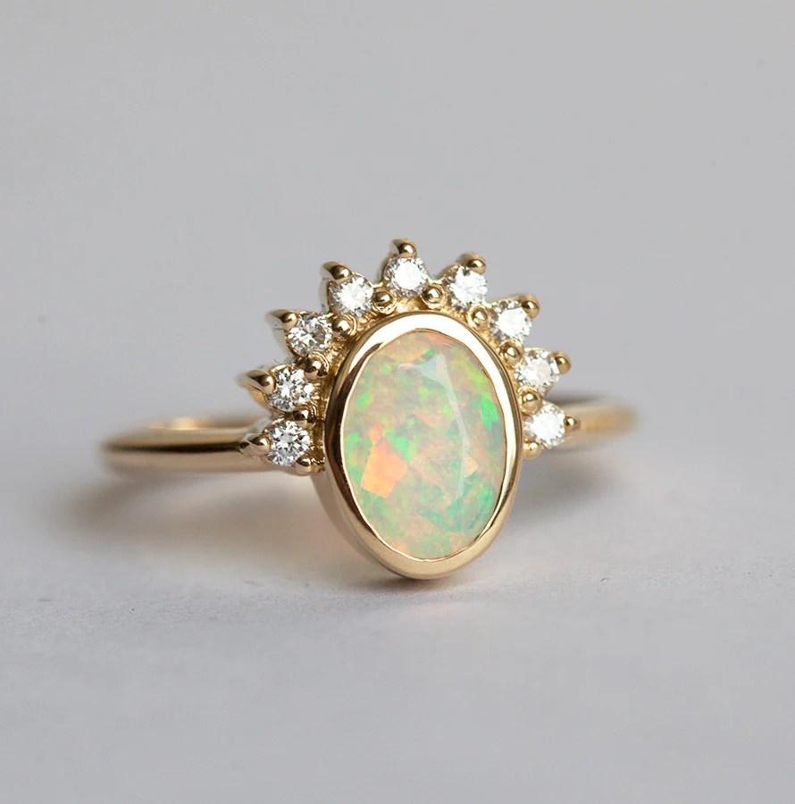 opal engagement ring blue opal wedding rings Oval Opal Engagement Ring Opal and Diamonds ring Diamond Opal Ring Welo Opal Ring Ethiopian Opal Ring Gold Opal Diamond Ring