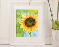 Sunflower art | Etsy