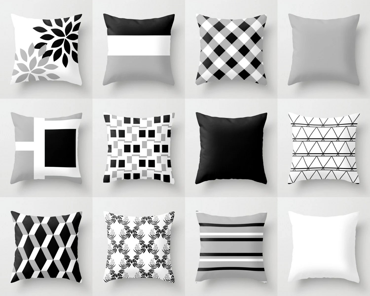 Throw Pillow Cover Black White Grey Couch Cushion Cover - Sofa Cushions Black And White
