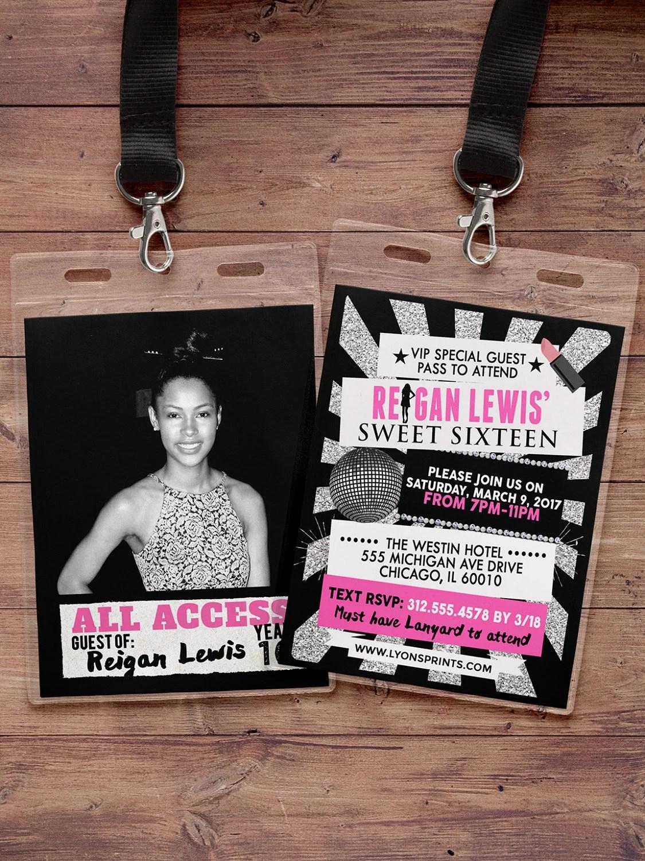 VIP PASS, Sweet 16, 21st birthday, backstage pass, concert ticket - concert ticket birthday invitations