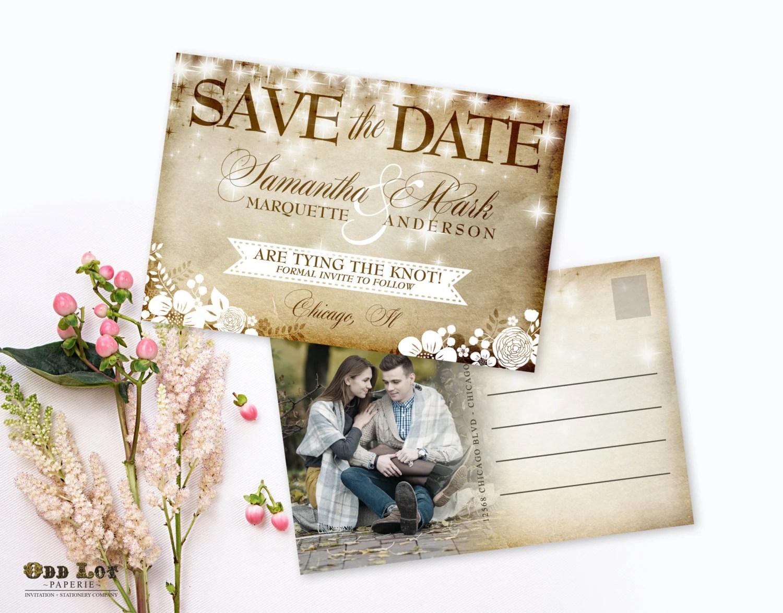 Printable Rustic Save the Date Postcard, Vintage Save the date - save date postcard