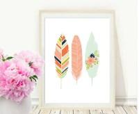 Pink Feather Print Printable Art Feather Art Print