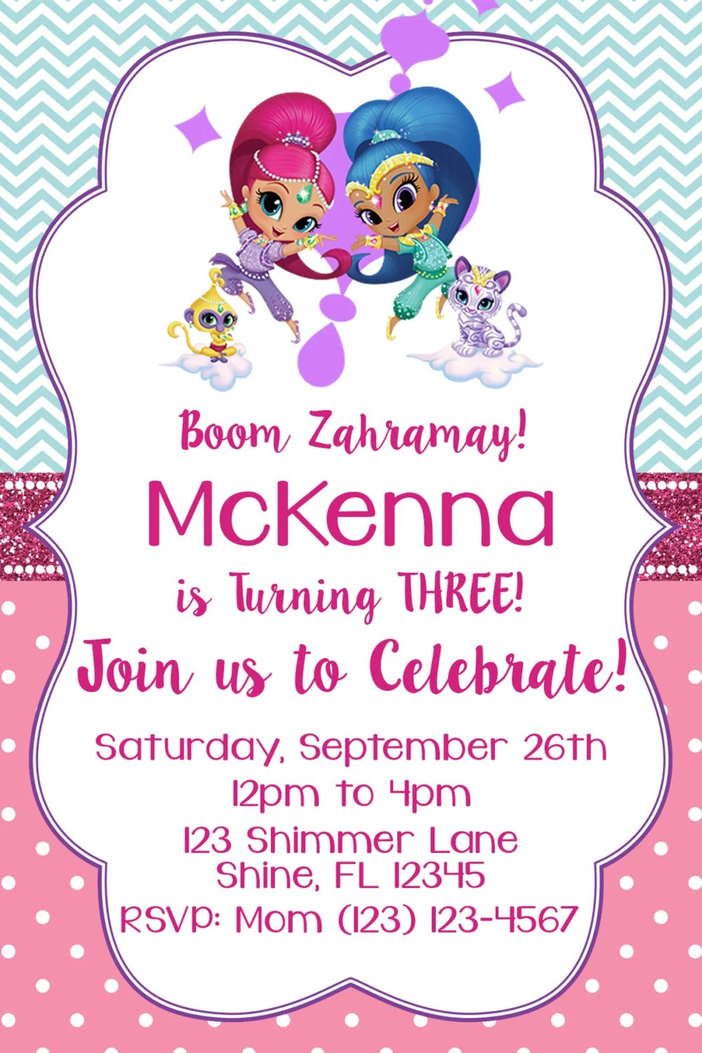 Shimmer And Shine Invitation Matching Thank You Card