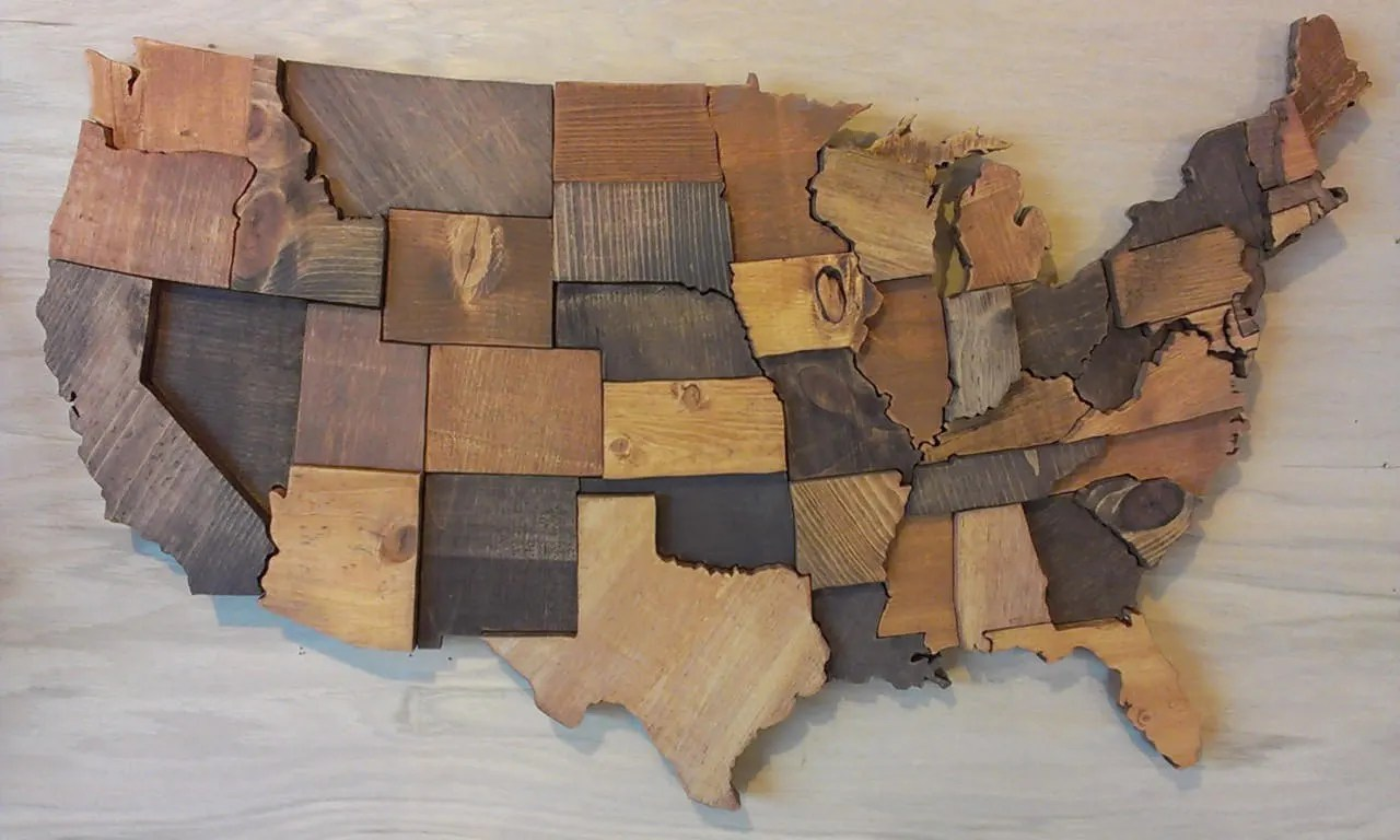 Contiguous USA map wall art wooden state art United States map