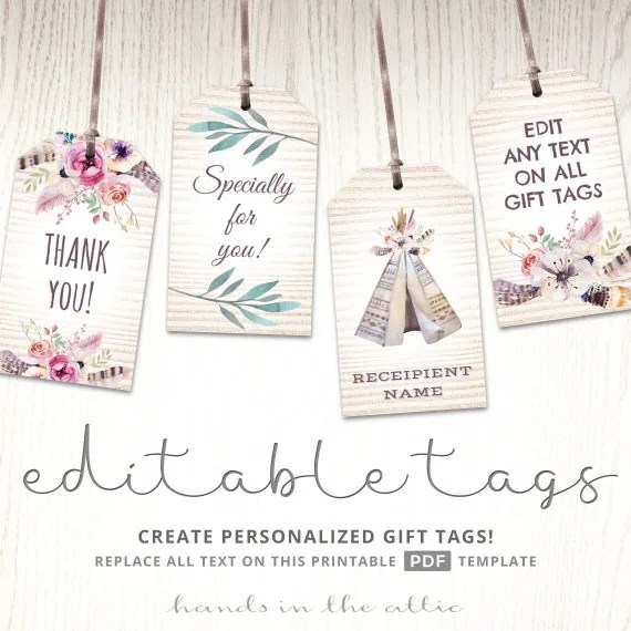 Editable boho tags, gifts favors, printable template labels