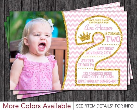 Pink and Gold 2nd Birthday Invitations - Second Birthday Invitation
