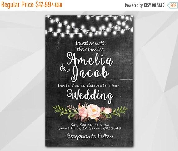 GreatGifts - SALE 50OFF Wedding Invitation, Chalkboard Invitation