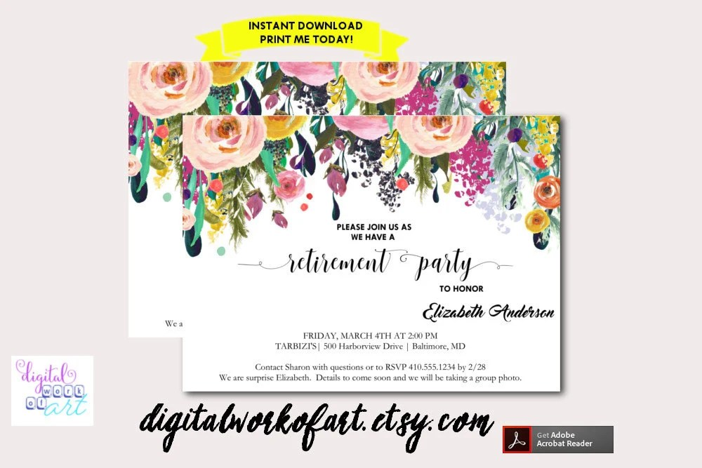 Retirement Party Invitation Template Printable DIY Watercolor - retirement party flyer template