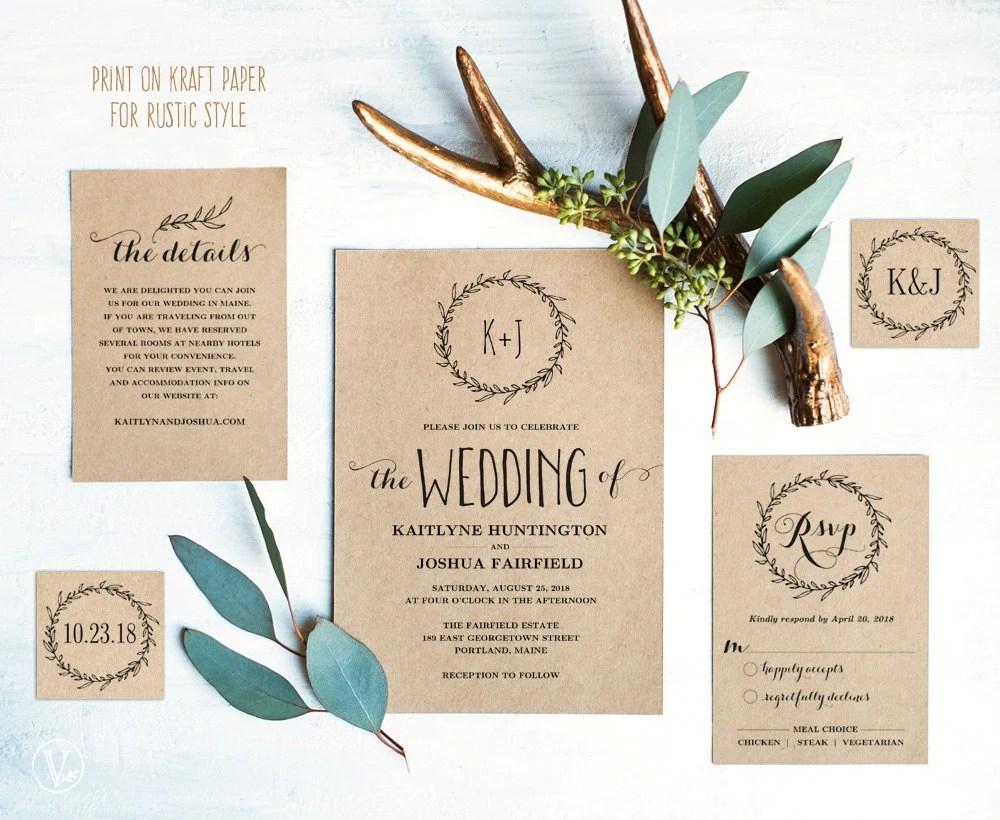 wreath kit etsy wedding invitations Classic Wreath Wedding Invitation Template Rustic Wedding Invitation Kraft Wedding Invitations DIY Wedding Invites Editable Text VW06