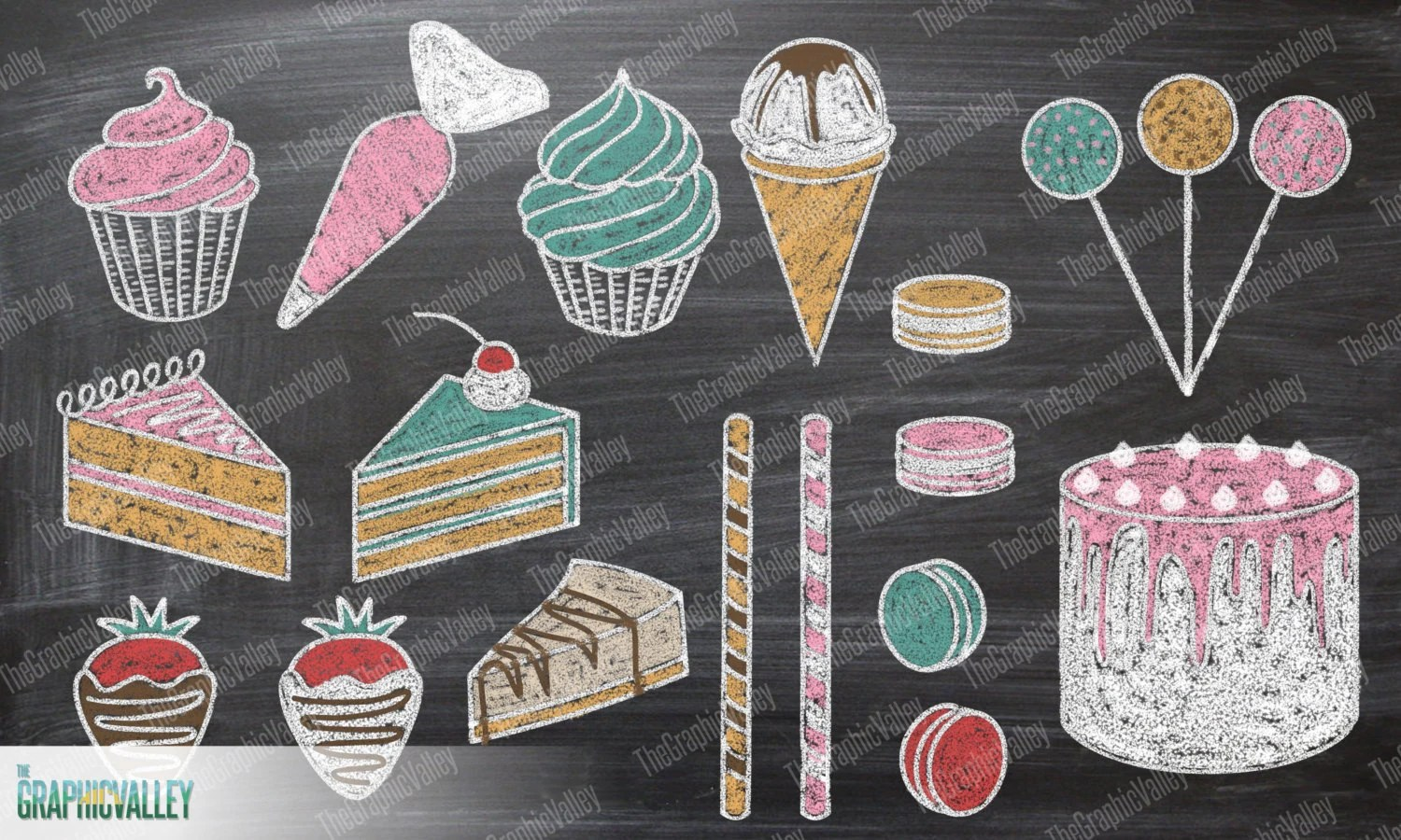 Birthday Cake Clip Art Items Similar To Chalkboard Dessert Clipart, Chalk Cake