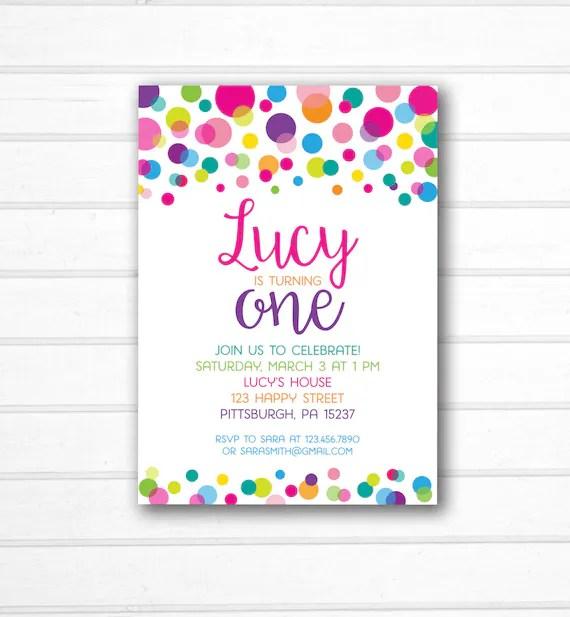 Rainbow Polka Dot Invitation - Polka Dot Birthday Invitation