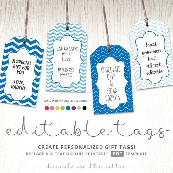 Editable gift tags, gift tag template, text editable, chevron, gift - gift tag template